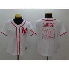 MLB New York Yankees 99 Aaron Judge White Pink Fashion Stitched Women Jersey