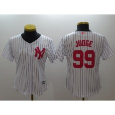 MLB New York Yankees 99 Aaron Judge White Strip Mother's Day Cool Base Stitched Women Jersey