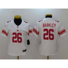 Women Nike New York Giants 26 Saquon Barkley White Vapor Untouchable Limited NFL Jersey