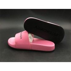 BALENCIAGA LOGO LEATHER SLIP-ON SANDALS PINK