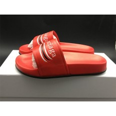 BALENCIAGA LOGO LEATHER SLIP-ON SANDALS RED