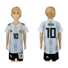 Argentina 10 MESSI Home 2018 FIFA World Cup Youth Soccer Jersey
