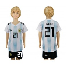 Argentina 21 DYBALA Home 2018 FIFA World Cup Youth Soccer Jersey