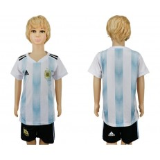 Argentina Home Youth 2018 FIFA World Cup Soccer Jersey