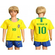 Brazil 10 NEYMAR JR Home Youth 2018 FIFA World Cup Soccer Jersey