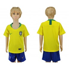 Brazil Home Youth 2018 FIFA World Cup Soccer Jersey