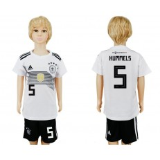 Germany 5 HUMMELS Home Youth 2018 FIFA World Cup Soccer Jersey