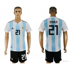 Argentina 21 DYBALA Home 2018 FIFA World Cup Soccer Jersey