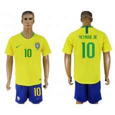 Brazil 10 NEYMAR JR Home 2018 FIFA World Cup Soccer Jersey
