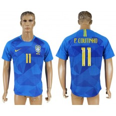 Brazil 11 COUTINHO Away 2018 FIFA World Cup Soccer Thailand Soccer Jersey