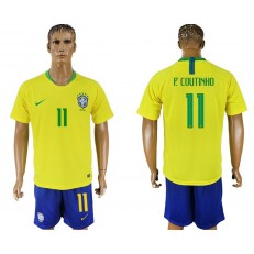 Brazil 11 COUTINHO Home 2018 FIFA World Cup Soccer Jersey