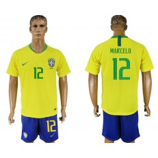 Brazil 12 MARCELO Home 2018 FIFA World Cup Soccer Jersey