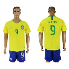 Brazil 9 JESUS Home 2018 FIFA World Cup Soccer Jersey
