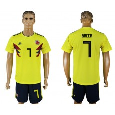 Colombia 7 BACCA Home 2018 FIFA World Cup Soccer Jersey