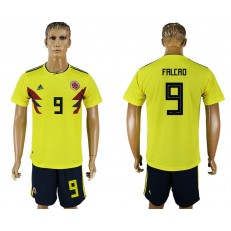 Colombia 9 FALCAO Home 2018 FIFA World Cup Soccer Jersey