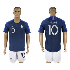 France 10 MBAPPE Home 2018 FIFA World Cup Soccer Jersey