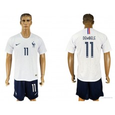 France 11 DEMBELE Away 2018 FIFA World Cup Soccer Jersey