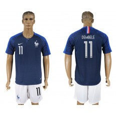 France 11 DEMBELE Home 2018 FIFA World Cup Soccer Jersey