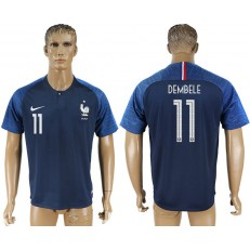 France 11 DEMBELE Home 2018 FIFA World Cup Soccer Thailand Soccer Jersey