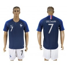 France 7 GRIEZMANN Home 2018 FIFA World Cup Soccer Jersey