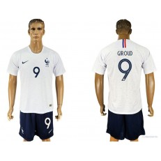 France 9 GIROUD Away 2018 FIFA World Cup Soccer Jersey