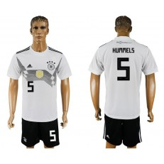 Germany 5 HUMMELS Home 2018 FIFA World Cup Soccer Jersey