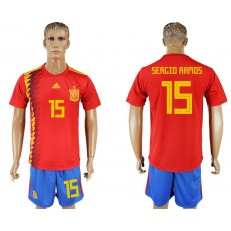 Spain 15 RAMOS Home 2018 FIFA World Cup Soccer Jersey