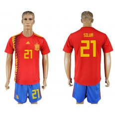 Spain 21 SILVA Home 2018 FIFA World Cup Soccer Jersey