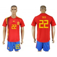 Spain 22 ISCO Home 2018 FIFA World Cup Soccer Jersey