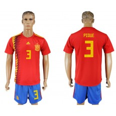 Spain 3 PIQUE Home 2018 FIFA World Cup Soccer Jersey
