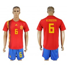 Spain 6 A. INIESTA Home 2018 FIFA World Cup Soccer Jersey