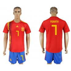 Spain 7 MORATA Home 2018 FIFA World Cup Soccer Jersey
