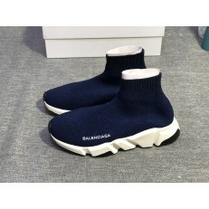 BALENCIAGA SPEED STRETCH-KNIT MID SNEAKERS DEEP BLUE