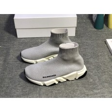 BALENCIAGA SPEED STRETCH-KNIT MID SNEAKERS LIGHT GREY