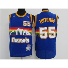 Denver Nuggets #55 Dikembe Mutombo Blue Hardwood Classics Swingman Men Jersey