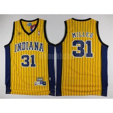 Indiana Pacers #31 Reggie Miller Yellow Throwback Mitchell And Ness Men Jersey