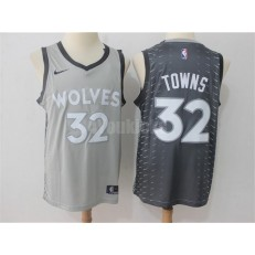 Minnesota Timberwolves #32 Karl-Anthony Towns Gray City Edition Nike Swingman Men Jersey