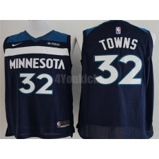 Minnesota Timberwolves #32 Karl-Anthony Towns Navy Nike Authentic Men Jersey