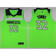 Minnesota Timberwolves #32 Karl-Anthony Towns New Green 2017-2018 Nike Swingman Stitched Men Jersey