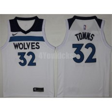 Minnesota Timberwolves #32 Karl-Anthony Towns New White 2017-2018 Nike Swingman Stitched Men Jersey