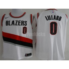 Portland Trail Blazers #0 Damian Lillard White Nike Authentic Men Jersey