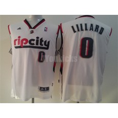 Portland Trail Blazers #0 Damian Lillard White Throwback Men Jersey