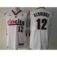 Portland Trail Blazers #12 LaMarcus Aldridge White Throwback Men Jersey