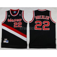 Portland Trail Blazers #22 Clyde Drexler Black Hardwood Classics Soul Swingman Throwback Men Jersey