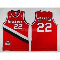 Portland Trail Blazers #22 Clyde Drexler Red Hardwood Classics Soul Swingman Throwback Men Jersey