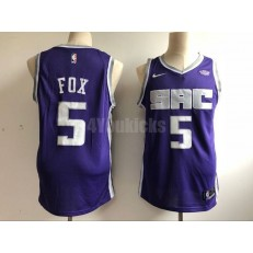 Sacramento Kings #5 De'Aaron Fox Purple Nike Authentic Jersey