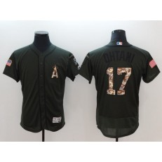 MLB Los Angeles Angels #17 Shohei Ohtani Olive Green Flexbase Men Jersey
