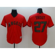 MLB Los Angeles Angels #27 Mike Trout Red 2018 Memorial Day Cool Base Men Jersey