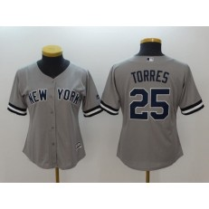 MLB New York Yankees #25 Gleyber Torres Gray Cool Base Women Jersey