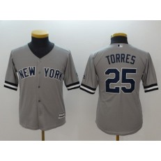 MLB New York Yankees #25 Gleyber Torres Gray Cool Base Youth Jersey